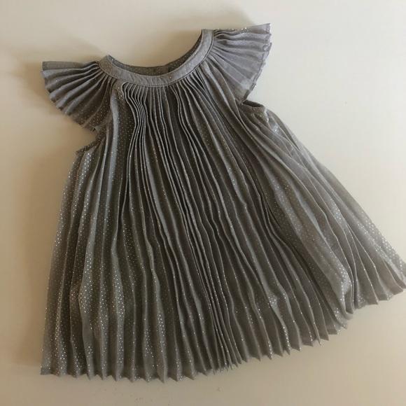 9209d1bd1050 GAP Dresses | Baby Metallic Print Pleat Flutter Sleeve Dress | Poshmark